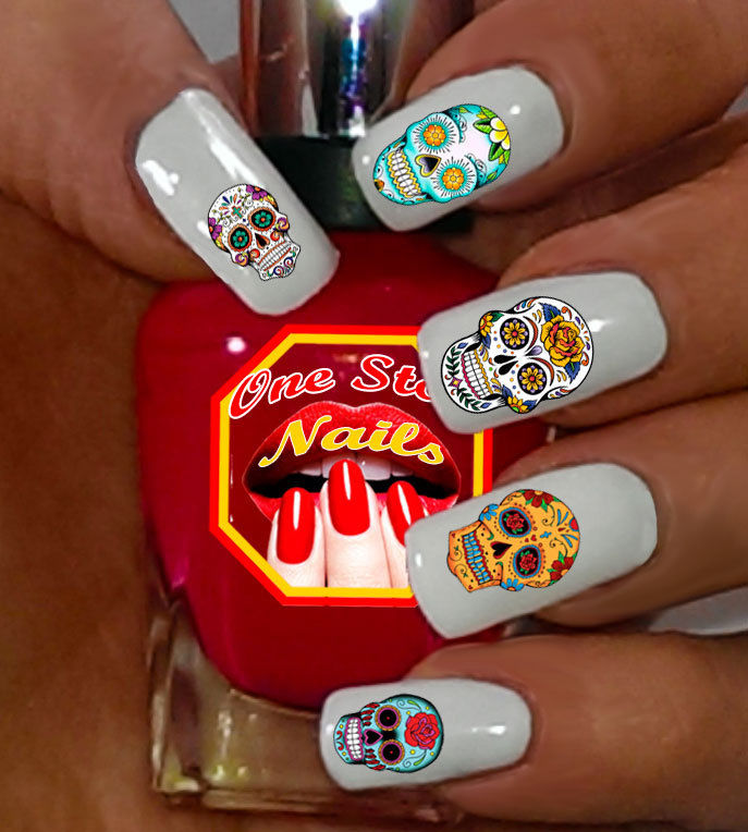 Sugar Skull Nail Art Stickers Transfers Decals Dia de los Muertos