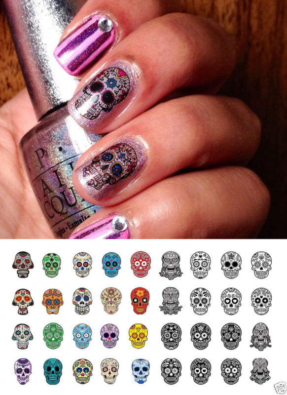 Halloween Sugar Skull Nail Art Waterslide Decals Set #4 - Day of the Dead!
