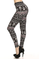 Sugar Skull Print Buttery Soft Leggings 3X-5X