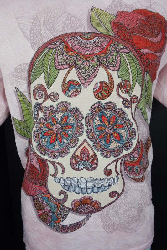 Medium Calavera Tattoo Sugar Skull Pink T Shirt Day of Dead Mountain Mens M - Pre-owned