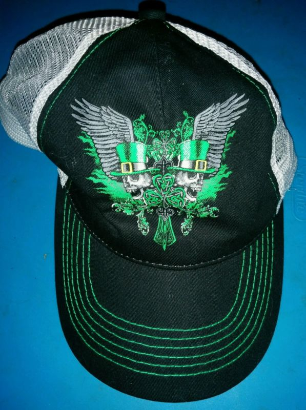 """St. Patrick Skull & Cross"" Men's Black White Mesh Hat Cap New"