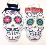 Mr & Mrs Sugar Skull Day Of The Dead Gothic Couple Wall Hanging Decor Pillow