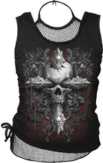 Spiral Cross Of Darkness, 2In1 Neck Tie Mesh Top Black |Skull|Gothic|