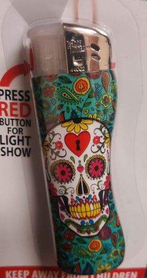 Sugar Skull Day Of the Dead Light Up Lighter Set of 2 - Ship to US only