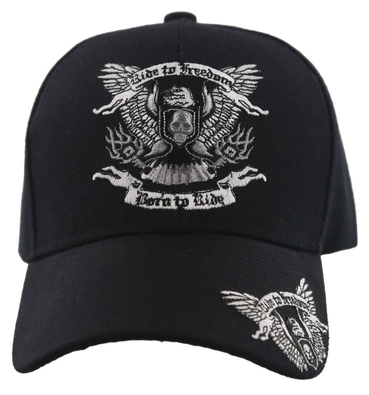 NEW! RIDE TO FREEDOM BORN TO RIDE MOTO EAGLE SKULL BALL CAP HAT BLACK