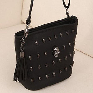 Black Women Girl Punk Skull Clutch Long Zipper Purse Leather Wallet Card Holder