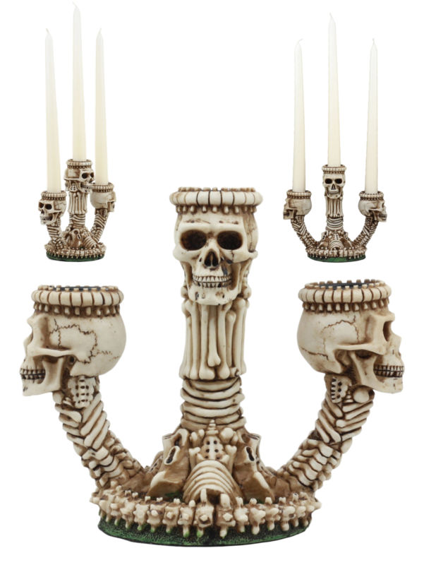 Gothic Trio Ossuary Skulls And Skeleton Bones Candelabra Candle Holder Decor