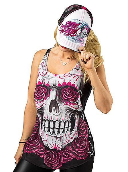 Lethal Angel Day Of The Dead Rose Skull Tattoo Womens Tank Top Shirt