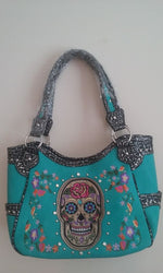 SUGAR SKULL CONCEALED CARRY HANDBAG PURSE BLUE COME WITH 2 FREE GIFTS - SKULL HAT AND A BRACELET