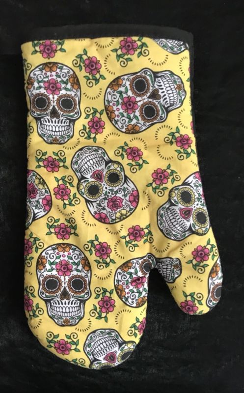 Skull And Flowers Oven Mitt - Yellow & Black - Halloween Spooky