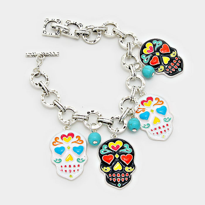 Day of the Dead Mexican Enamel Sugar Skull Silver Toned Charm Bracelet, 7.5""