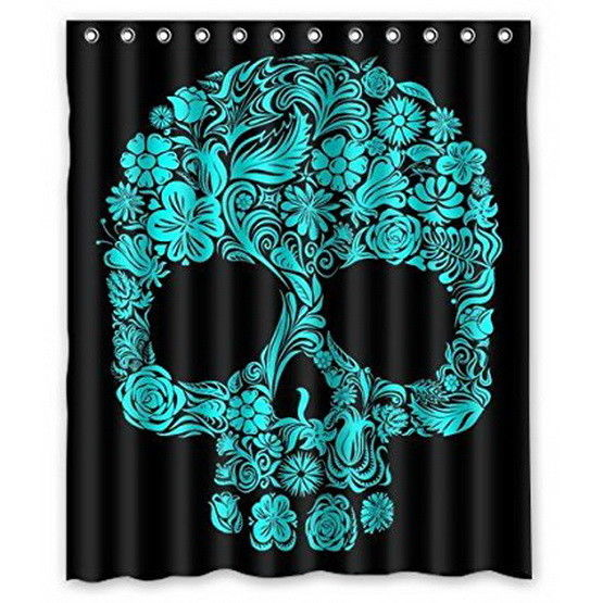 Custom Print Design Green Black Sugar Skull  Shower Curtains Many Sizes