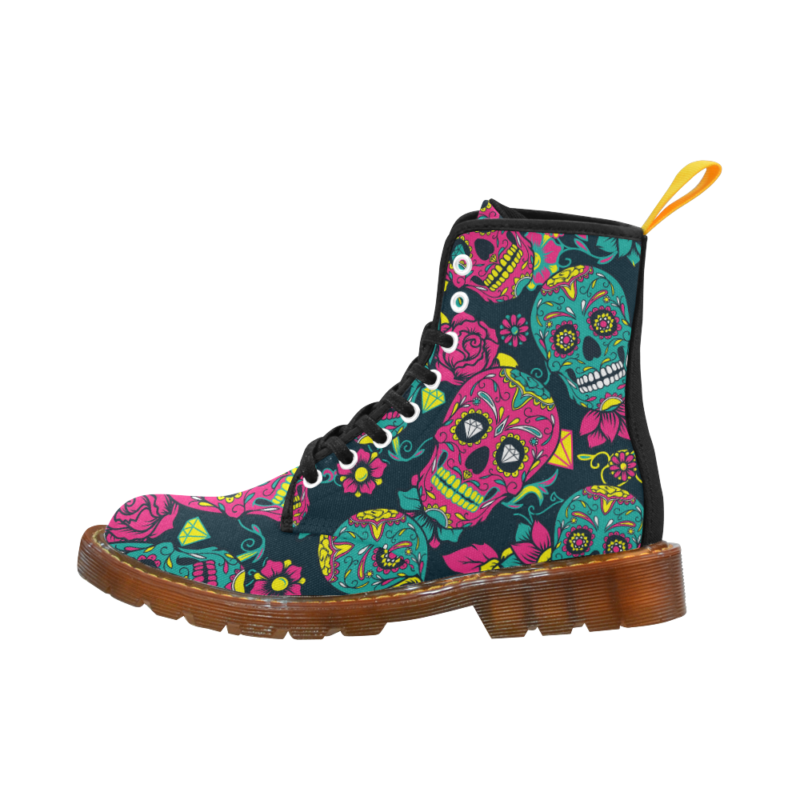 Women's Shoes Lace Up Boots Martin Boots Day of The Dead Colorful Sugar Skull