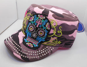 Sugar Skull Pink Camo Bling Cadet Hat New One Size
