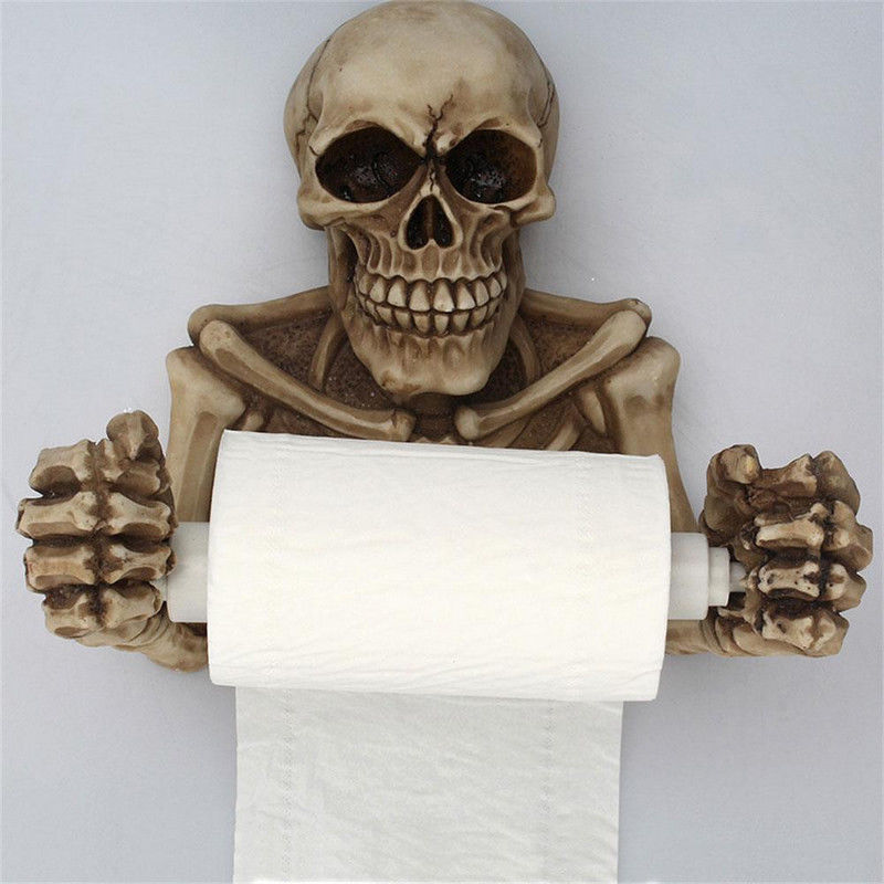 Skull Toilet Paper Towel Roll Holder Wall Mount Bone Skeleton Resin Bathroom