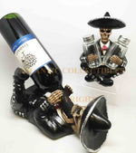 Mariachi Skeleton Skull Wine Bottle Holder and Salt Pepper Shaker Set Home Decor