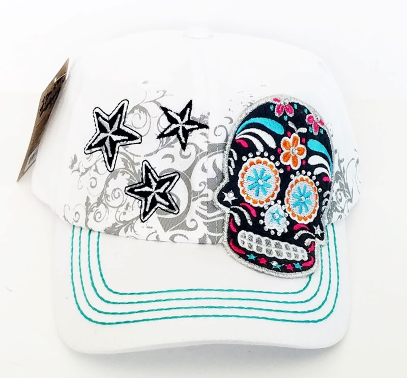 Womens Multi Color Sugar Skull Baseball Bling Stone Trendy Fashion Hat-White