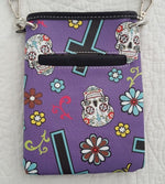 Cowgirl Trendy Sugar Skull Purse Cross Body Bag Day of the Dead Purple