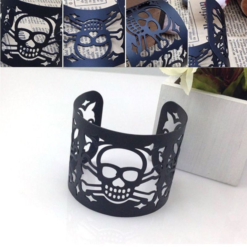 Cuff Jewelry Metal Bangle Wide Hollow-out Skull Bracelet Punk Style