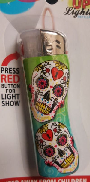 Day Of the Dead Sugar Skull Light Up Lighter Set of 2 NEW - Ship to US only