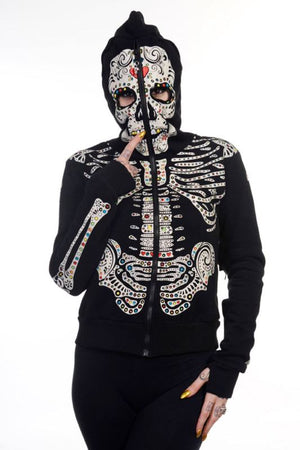 Apparel Sweats New Collection Sweatshirts Sugar Skull Gothic Hoodie