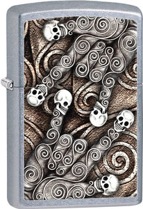 Zippo Skull Scroll Hand Rock On I Love You Patterns Street Chrome Lighter