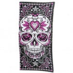 Sugar Skull Paisley Pink Bath Beach Pool Gift Towel Roses Diamonds NWT