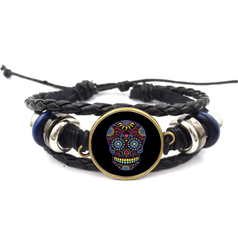 90% sale off. Only Today. Hurry up!Black Sugar Skull Neon Glass Cabochon Bracelets.