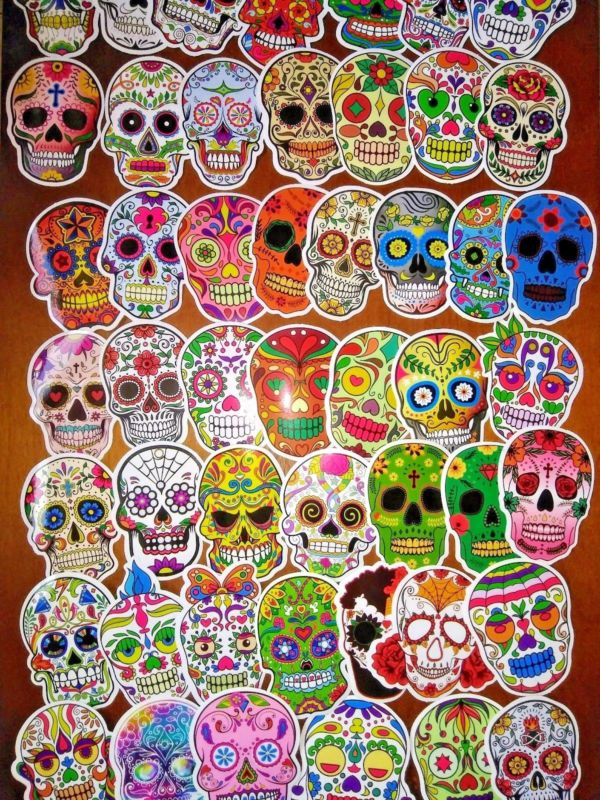 Set of 50 - Sugar Skull, Stickers, Decals