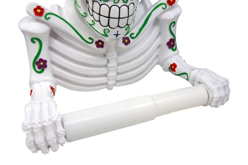 White Day Of The Dead Sugar Skull Floral Skeleton Bathroom Toilet Paper Holder