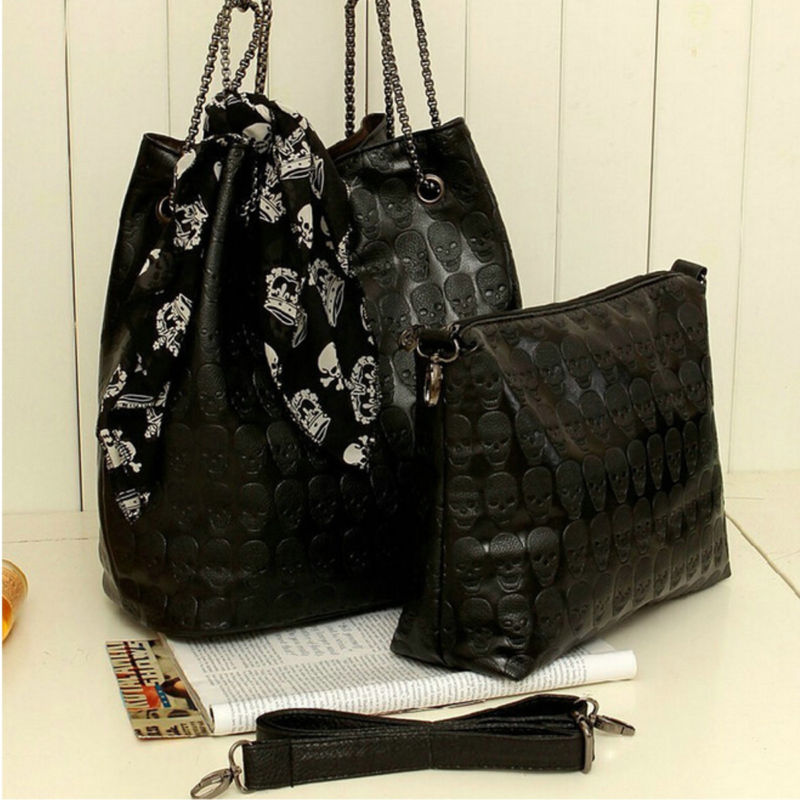 2Pcs Women Skull Handbag Shoulder Tote Purse Leather Crossbody Makeup Bag Set
