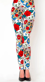 Women's Sugar Skull Day of Sharon Rose Print Soft White Leggings One Size 2-12