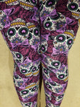 One Size OS Buttery Soft Purple Sugar Skulls Pattern Leggings Sizes 0-12