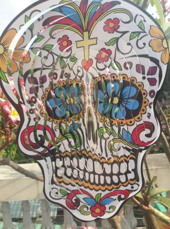 Wholesale 100 pcs Sugar skull wind chimes wind spinners day of the dead sugar skull