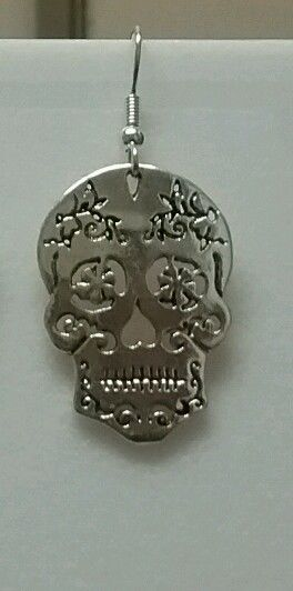Silver color Sugar Skull dangle earrings
