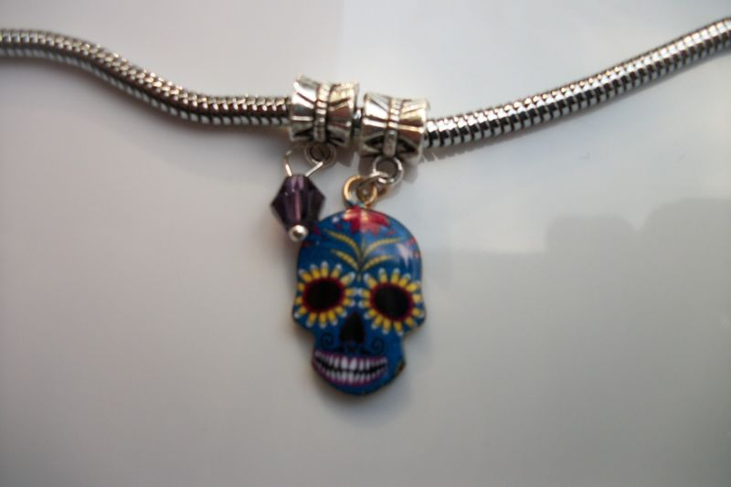 "19"" SUGAR SKULL CHARM NECKLACE, DAY OF THE DEAD SKULL NECKLACE, Snake Chain, NEW"