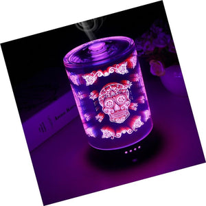 COOSA 100ML Glass 3D Skull Pattern Essential Oil Diffuser, with 4 Time Settin...