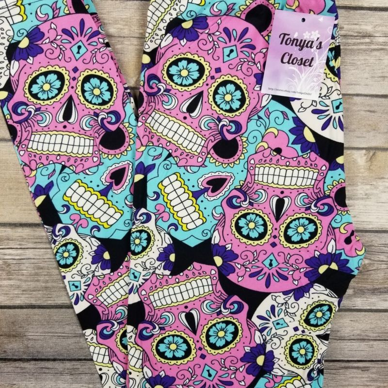 Sugar Skull Leggings Pink Purple Blue Skeleton Print Butter Soft ONE SIZE OS