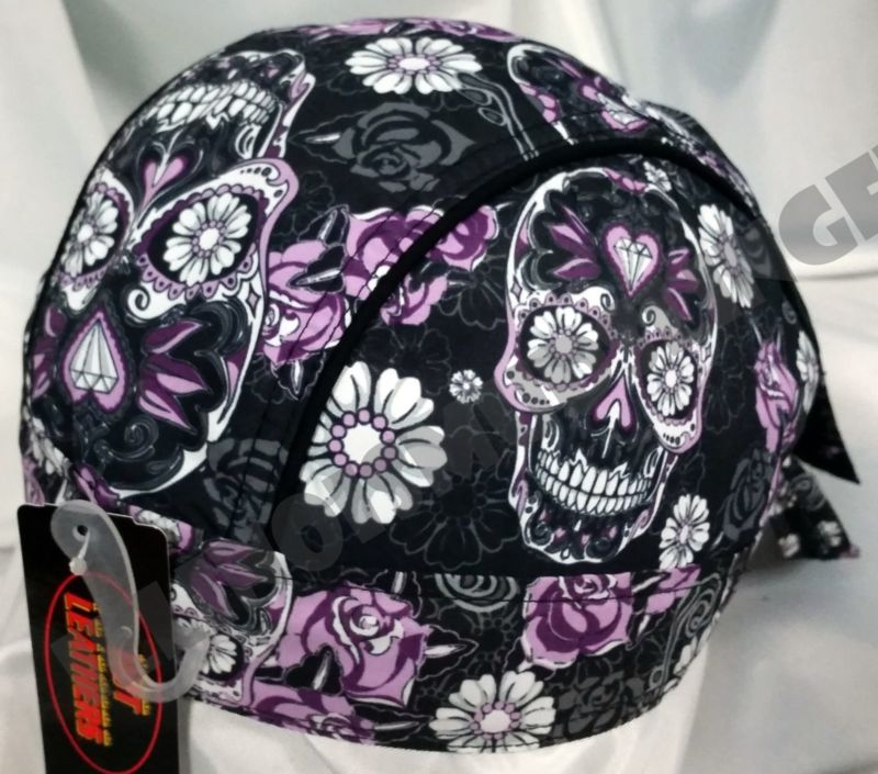 Sugar Skulls Roses and Flowers Design Headwrap Biker Doo Rag Cap