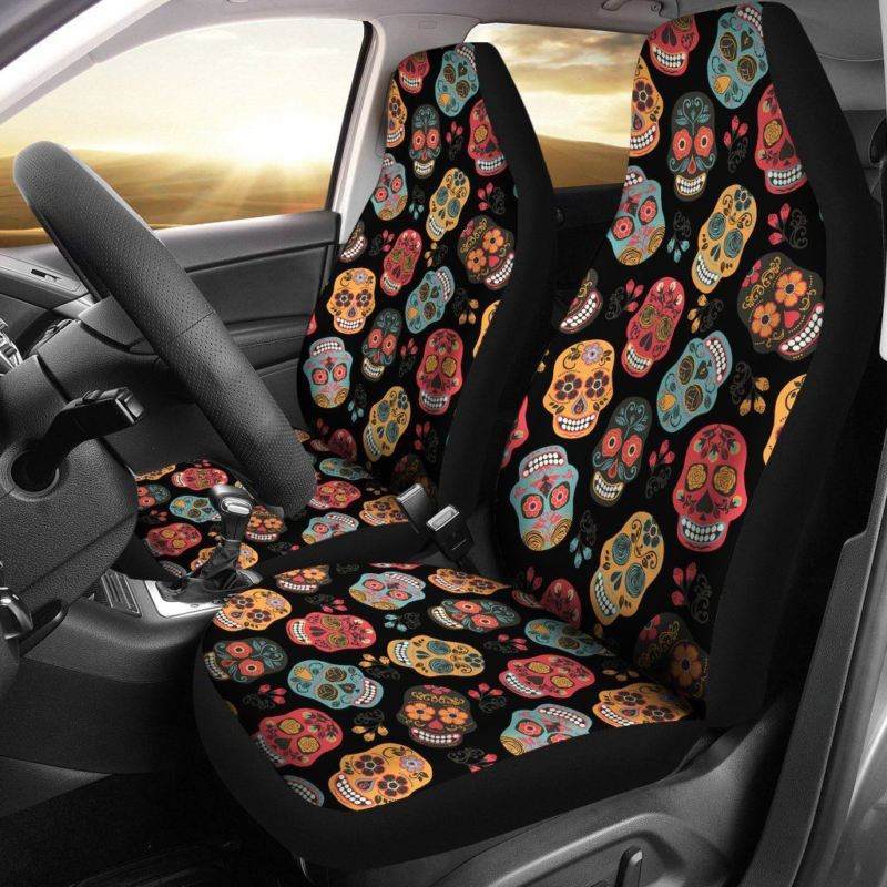Skull Car Seat Cover Black/Colorful ( Set of 2 )