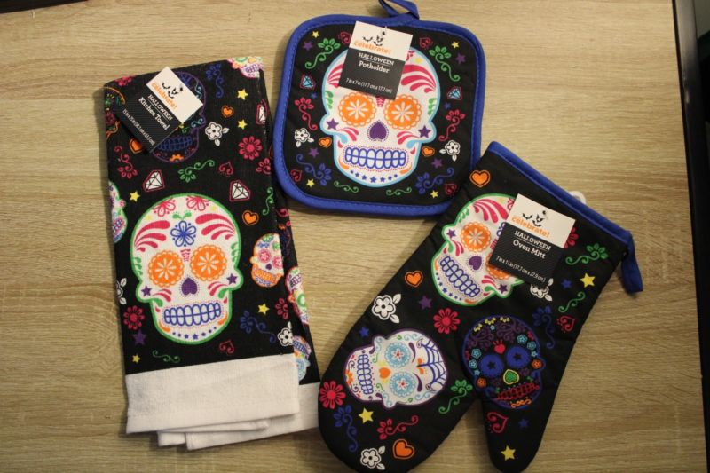 3pc Set Sugar Skull Day Of The Dead Halloween Kitchen Towel Potholder Oven Mitt