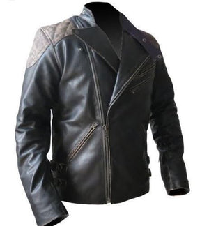 Men's Biker Reinforced Vintage Distressed Black Skull Leather Jacket