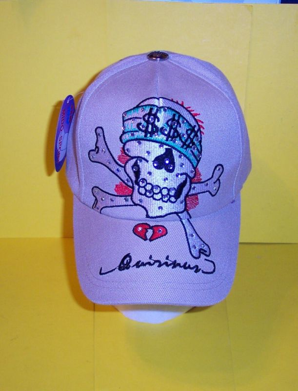 SKULL with RHINESTONES  BEIGE  QUIRINUS  CAP /  HAT NEW with TAGS