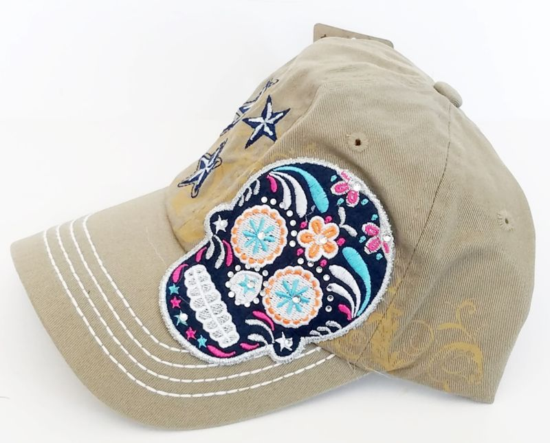 Womens Multi Color Sugar Skull Baseball Bling Stone Trendy Fashion Hat-Khaki
