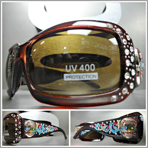 6690db761e5f Women s WESTERN Bling COWGIRL SUN GLASSES Brown Frame   Lens Sugar Skull  Concho