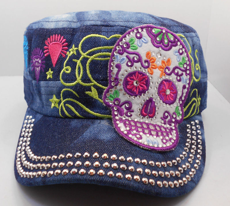 Sugar Skull Bling Cadet Hat In Blue Denim New One Size Adj. H37