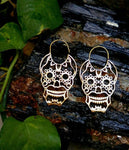 SKULL HANDMADE TRIBAL BRASS BOHO HOOP GYPSY EARRINGS GAUGES GIRLS