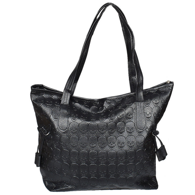 Gothic Skull Embossed Black Synthetic Leather Shoulder Bag Women Mens Handbag
