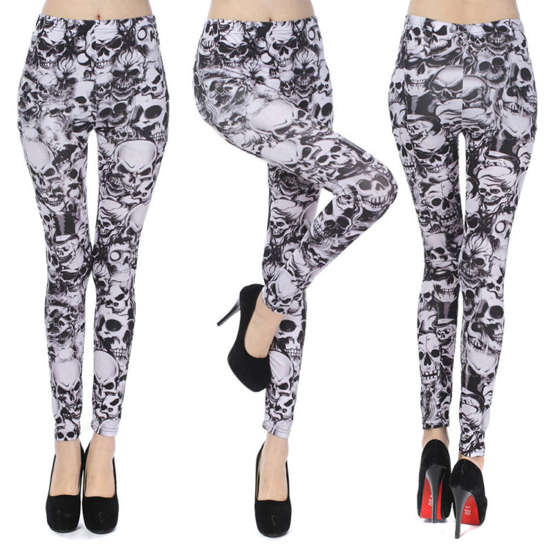 Sugar Skull Print Leggings Slim Stretchy Trousers Women's Skinny Pants Gracious