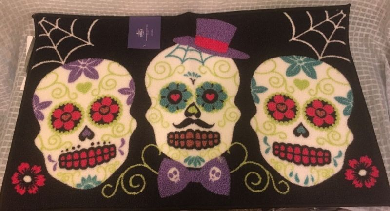 "SUGAR SKULL Rectangular Accent Rug 34"" x 20"" NEW Goth Punk Halloween - Ship to US only"